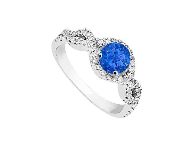 1 Carat Diamond and Blue Sapphire Engagement Ring in White Gold 14K