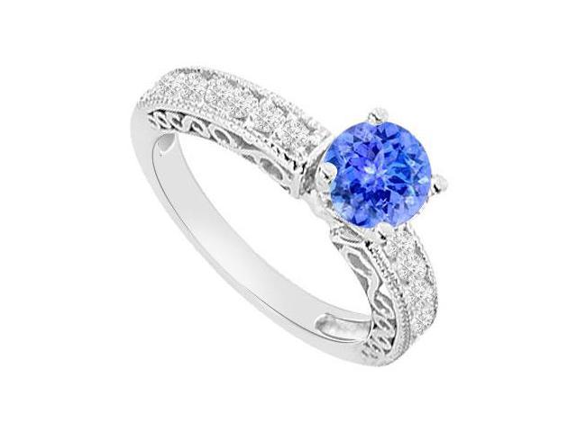Created Tanzanite and Cubic Zirconia Filigree Engagement Rings 14K White Gold 1.00.ct.tgw