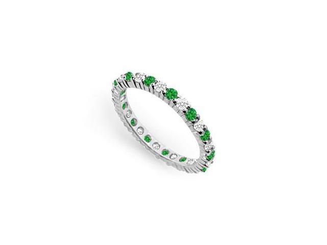 Diamond and Emerald Eternity Band  18K White Gold - 1.00 CT TGW