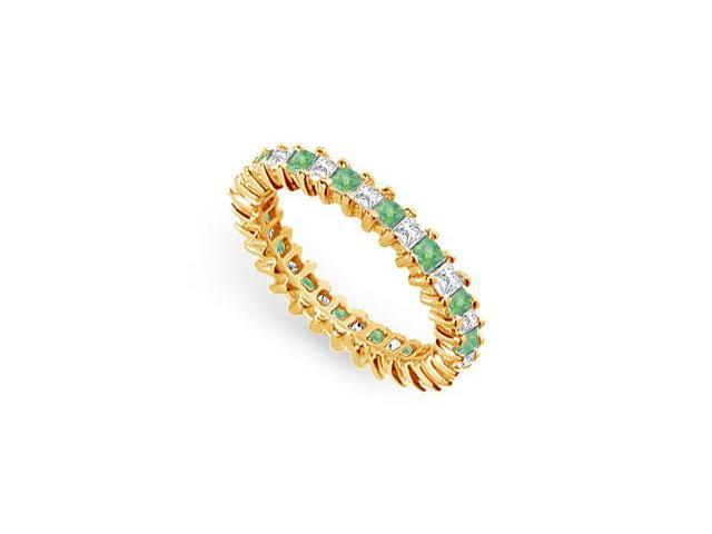 Diamond and Emerald Eternity Band  14K Yellow Gold  2.00 CT TGW