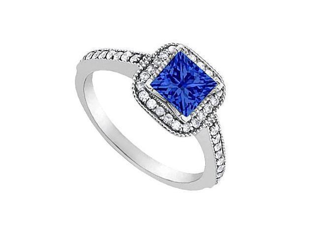 White Gold 14K CZ and Created Blue Sapphire Engagement Ring 0.85 Carat Total Gem Weight