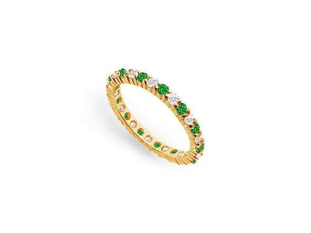 Diamond and Emerald Eternity Band  14K Yellow Gold - 1.00 CT TGW