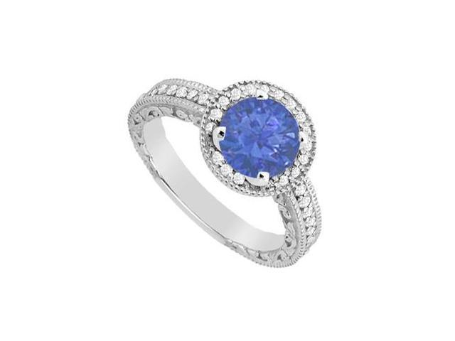 Natural Sapphire and Diamond Halo Engagement Ring in White Gold 14K Total Gem Weight 1.05 Carat