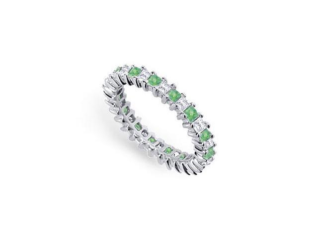 Diamond and Emerald Eternity Band  Platinum  2.00 CT TGW