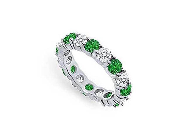 Emerald and Diamond Eternity Band  Platinum - 3.00 CT TGW