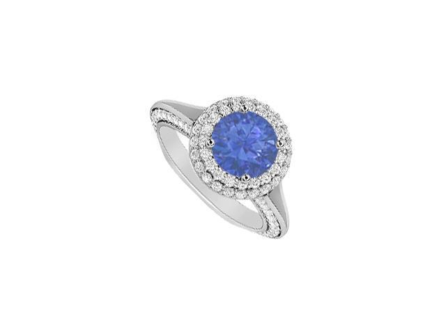 14K White Gold Engagement Ring 2 Carat Diamonds and Natural Sapphire in Prong Setting