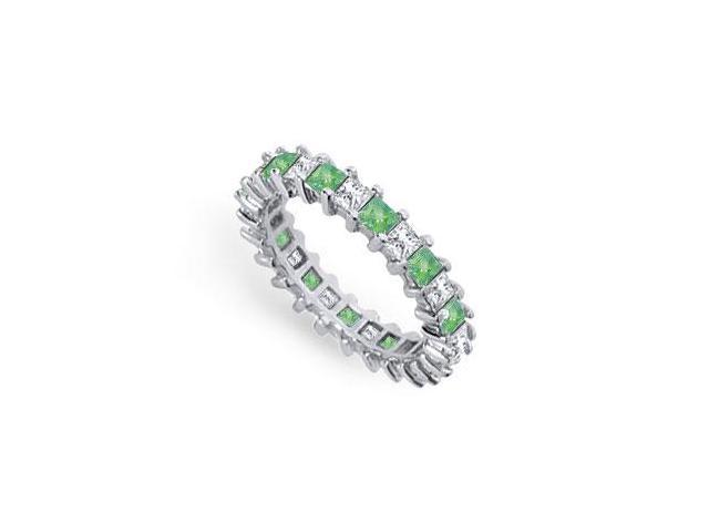 Diamond and Emerald Eternity Band  Platinum  3.00 CT TGW