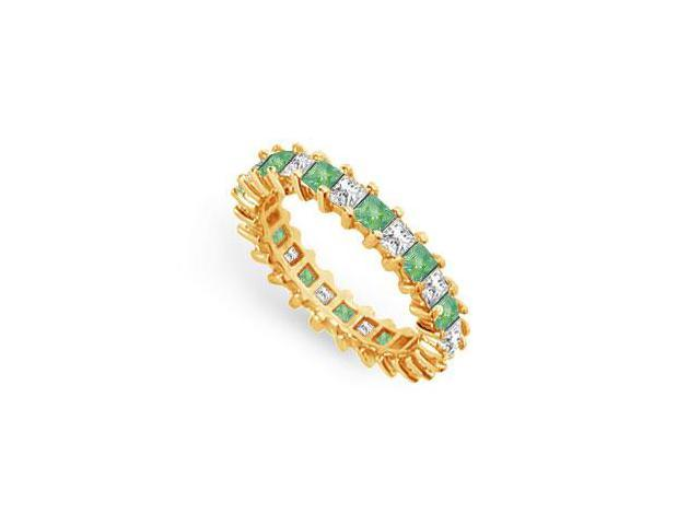 Diamond and Emerald Eternity Band  14K Yellow Gold  3.00 CT TGW
