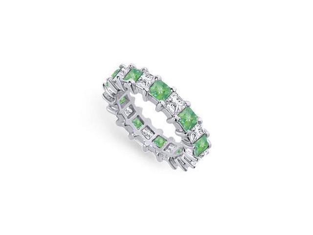 Diamond and Emerald Eternity Band  Platinum  4.00 CT TGW