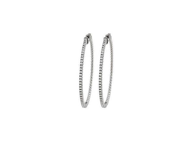 Diamond Hoop Earrings for Women in White Gold 1.50 CT Diamonds 14K