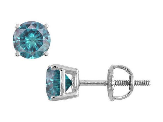 Blue Diamond Stud Earrings  14K White Gold  1.50 CT Diamonds