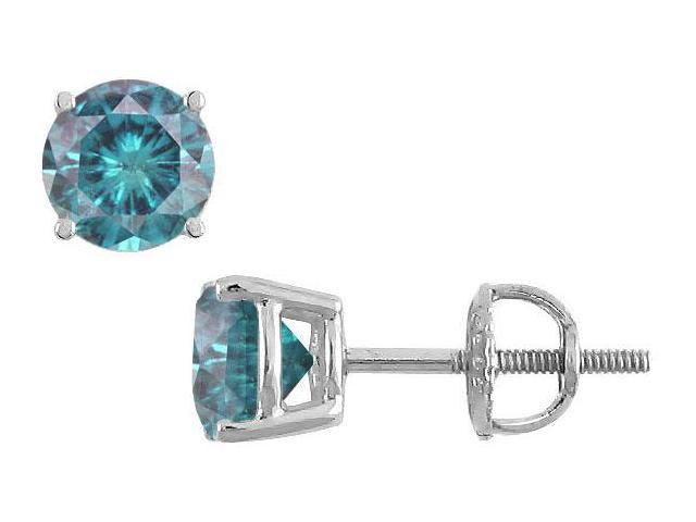 Blue Diamond Stud Earrings  14K White Gold  2.00 CT Diamonds