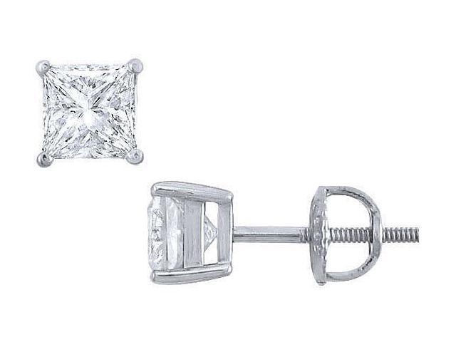 Platinum  Princess Cut Diamond Stud Earrings  1.50 CT. TW.