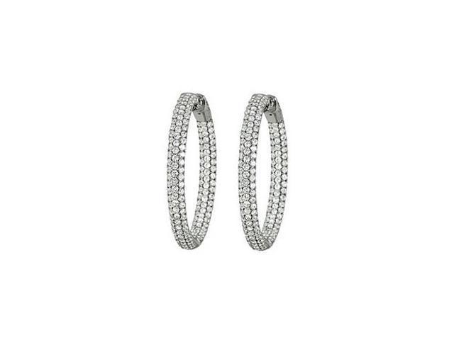 Triple Row Round Diamond Hoop Earrings for Women in White Gold 3.00 CT Diamonds 14K