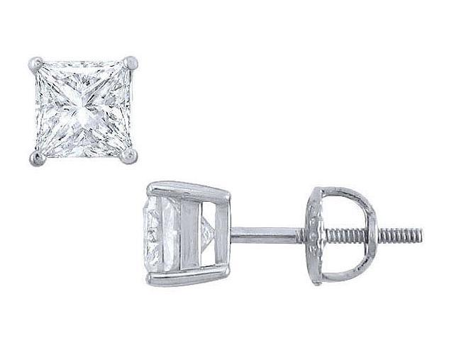 Platinum  Princess Cut Diamond Stud Earrings  1.75 CT. TW.