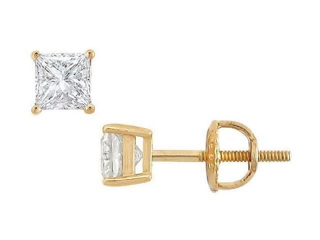 14K Yellow Gold  Princess Cut Diamond Stud Earrings  0.50 CT. TW.