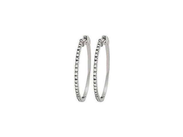 Cubic Zirconia Hoop Earrings for Women in 14K White Gold 1.00 ct.tw