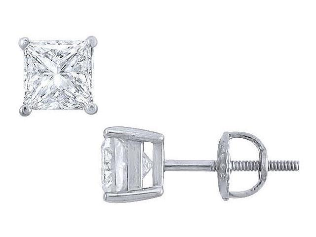 Platinum  Princess Cut Diamond Stud Earrings  2.00 CT. TW.
