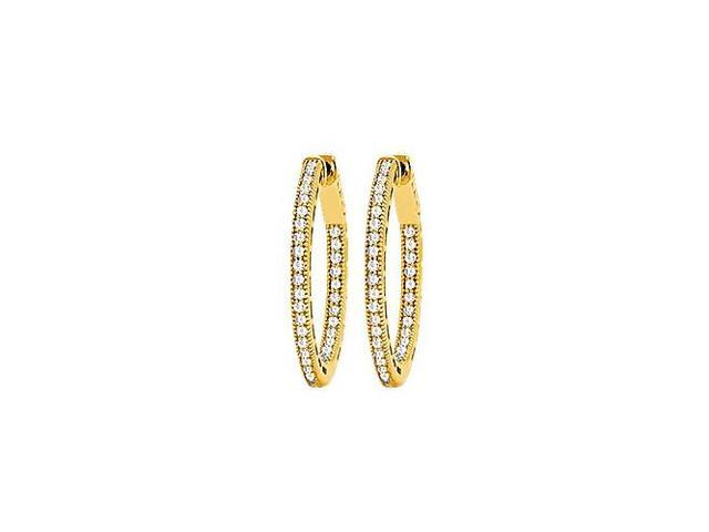 CZ 23mm Milgrain Round Inside Out Hoop Earrings in Yellow Rhodium Over Sterling Silver