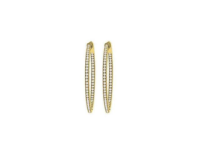 CZ 34mm Milgrain Round Inside Out Hoop Earrings in Yellow Rhodium Over Sterling Silver
