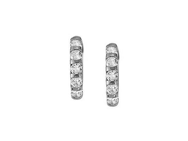 Large Cubic Zirconia Hoop Earrings for Women in Bar with 14K White Gold 1.00 ct.tw