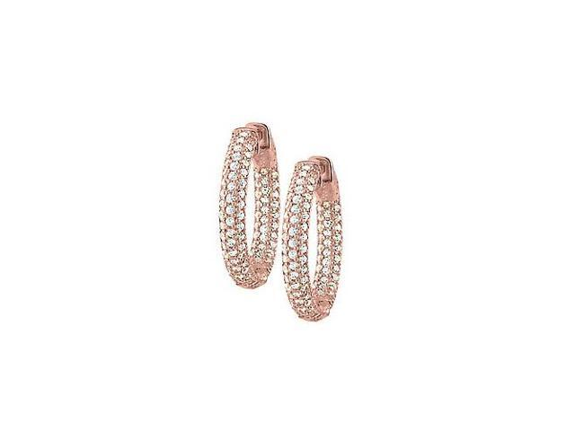 Pave Cubic Zirconia 25mm Round Inside Out Hoop Earrings in 14K Rose Gold over Sterling Silver