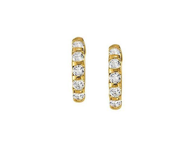 Large Cubic Zirconia Hoop Earrings for Women in Bar with 14K Yellow Gold 1.00 ct.tw