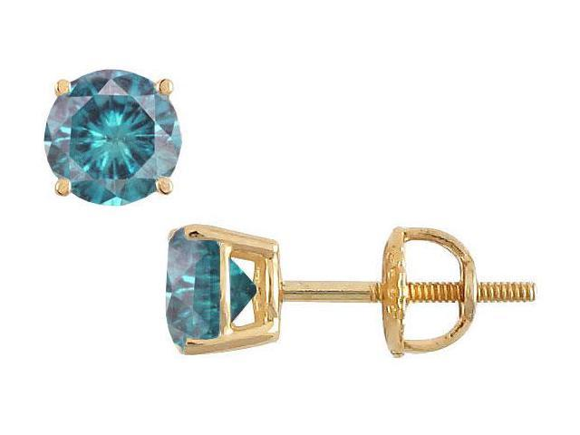 14K Yellow Gold  Blue Diamond Stud Earrings 0.75 CT TDW