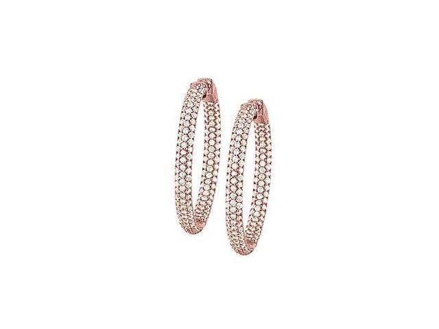 Pave Cubic Zirconia 36mm Round Inside Out Hoop Earrings in 14K Rose Gold over Sterling Silver