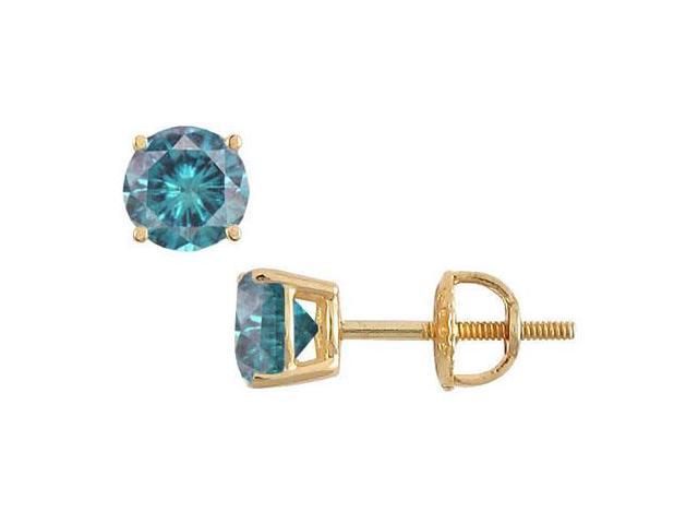 14K Yellow Gold  Blue Diamond Stud Earrings 1.50 CT TDW