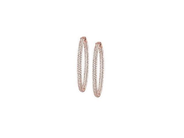 Pave Cubic Zirconia 50mm Round Inside Out Hoop Earrings in 14K Rose Gold over Sterling Silver