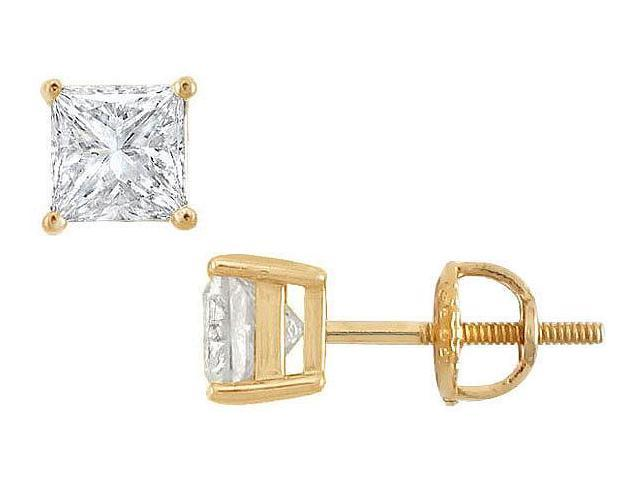 14K Yellow Gold  Princess Cut Diamond Stud Earrings  1.75 CT. TW.