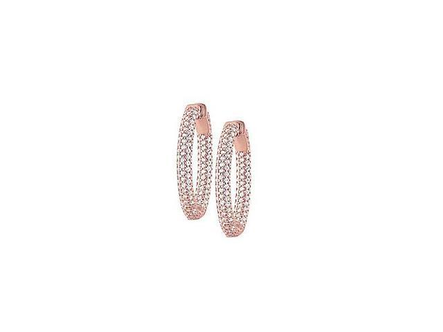 Pave Cubic Zirconia 30mm Oval Inside Out Hoop Earrings in 14K Rose Gold over Sterling Silver