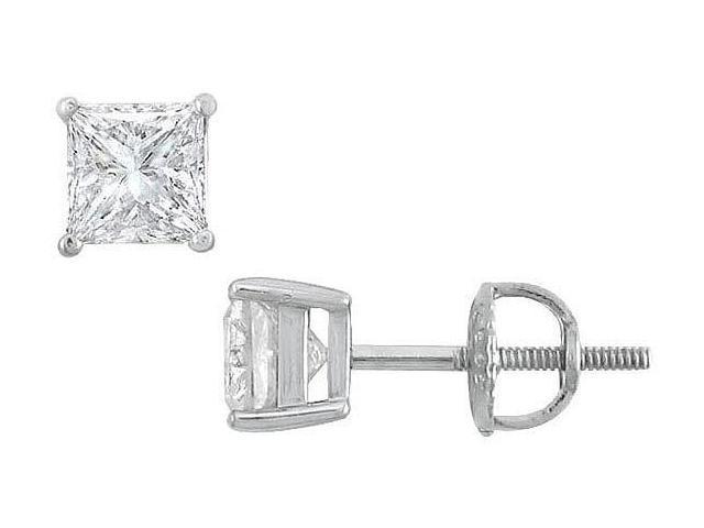 18K White Gold  Princess Cut Diamond Stud Earrings  1.25 CT. TW.