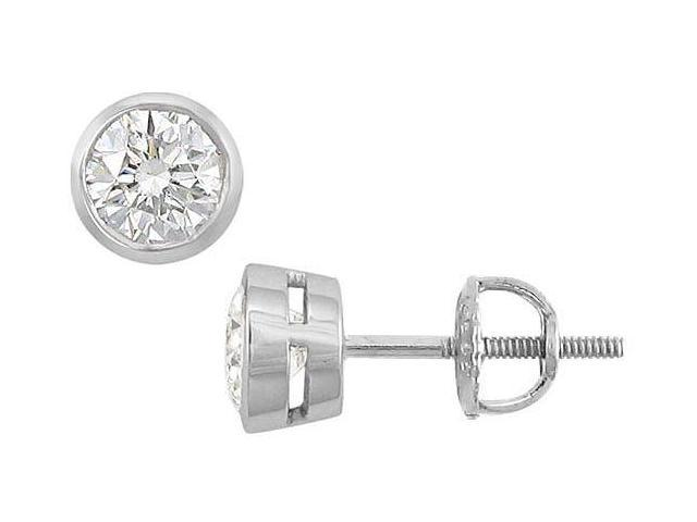 14K White Gold  Bezel-Set Round Diamond Stud Earrings  1.00 CT. TW.