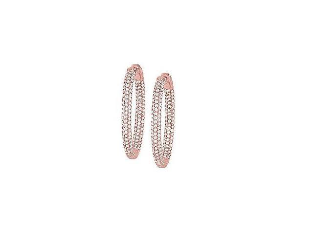 Pave Cubic Zirconia 49mm Oval Inside Out Hoop Earrings in 14K Rose Gold over Sterling Silver