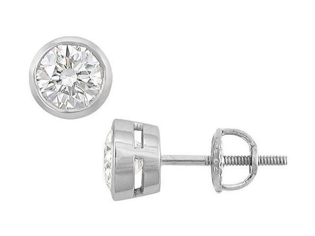 14K White Gold  Bezel-Set Round Diamond Stud Earrings  1.50 CT. TW.
