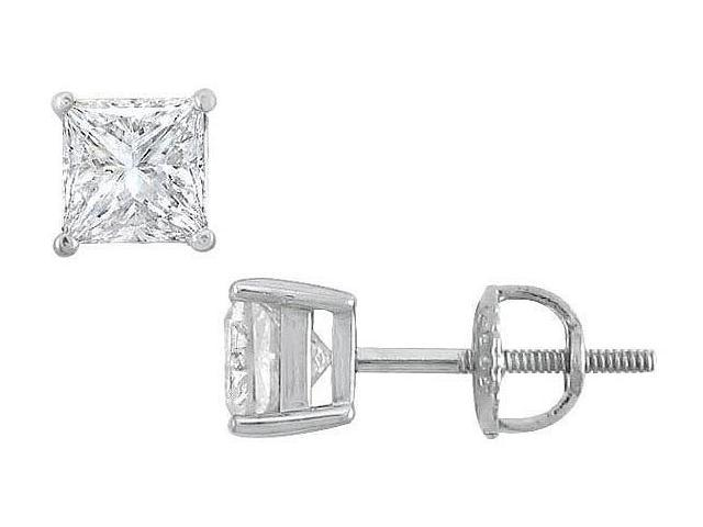 18K White Gold  Princess Cut Diamond Stud Earrings  1.50 CT. TW.
