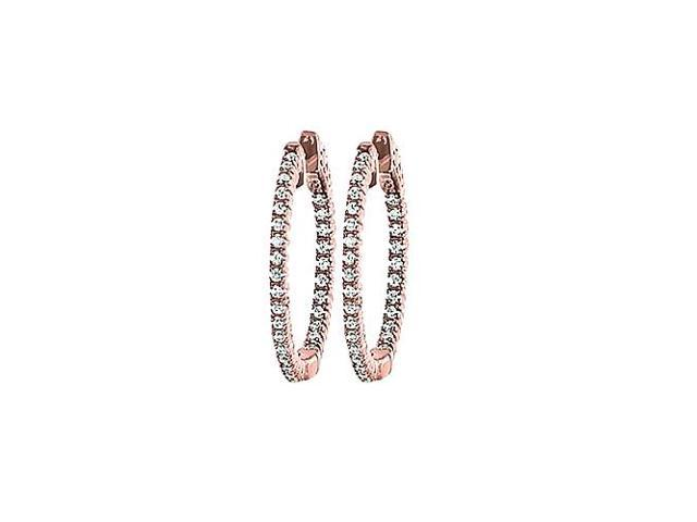CZ 25mm Round Prong Set .01 Inside Out Earrings in 14kt Rose Gold Over Sterling Silver