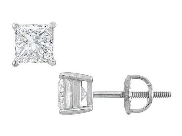 18K White Gold  Princess Cut Diamond Stud Earrings  1.75 CT. TW.