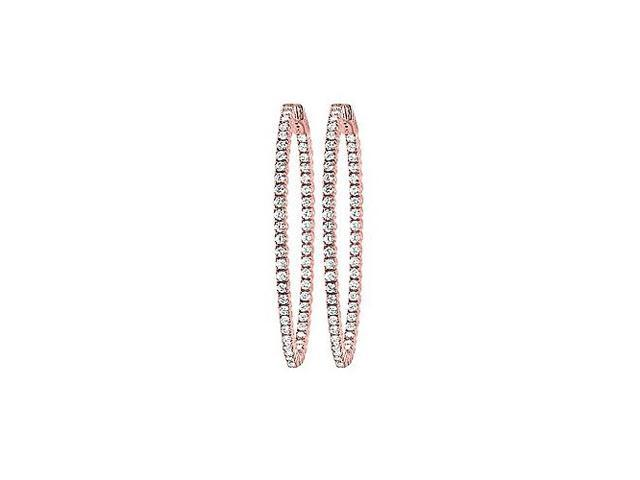 CZ 50mm Round Prong Set .01 Inside Out Earrings in 14kt Rose Gold Over Sterling Silver
