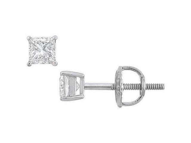18K White Gold  Princess Cut Diamond Stud Earrings  0.25 CT. TW.