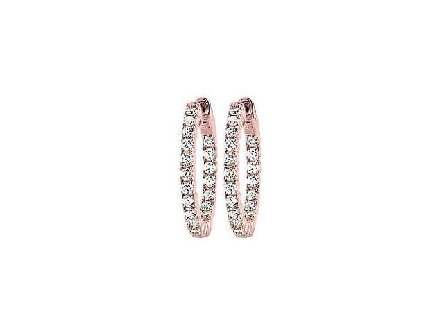 CZ 25mm Round Prong Set .05 Inside Out Hoop Earrings in 14kt Rose Gold Over Sterling Silver