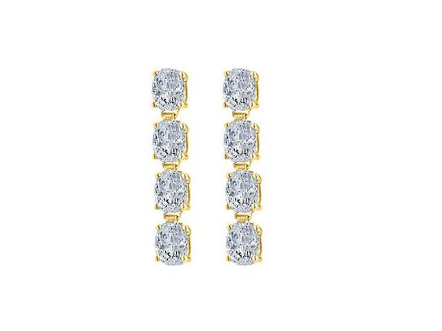 Drop Earrings Oval Triple AAA Quality CZ in Sterling Silver 18K Yellow Gold Vermeil 5 Carat TGW