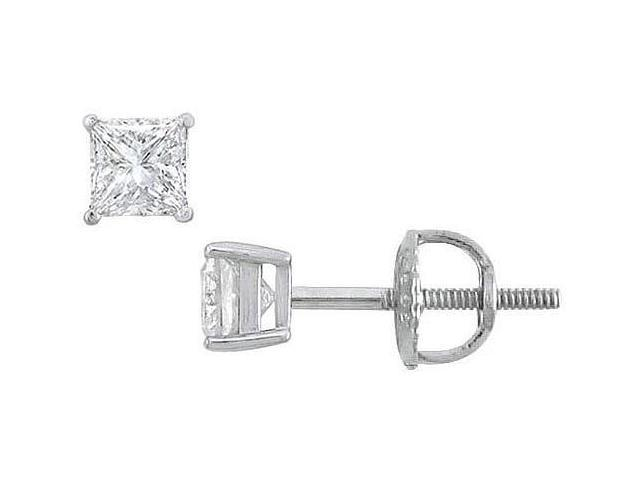 18K White Gold  Princess Cut Diamond Stud Earrings  0.33 CT. TW.