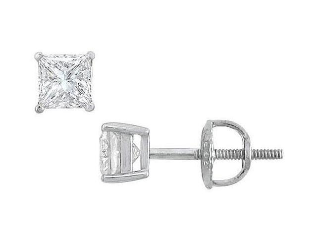 18K White Gold  Princess Cut Diamond Stud Earrings  0.50 CT. TW.