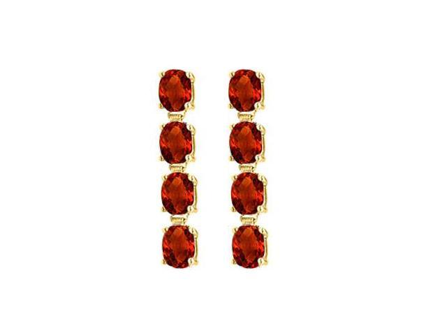 Garnet Drop Earrings Oval Cut Prong Set in Sterling Silver 18K Yellow Gold Vermeil Five Carat TG