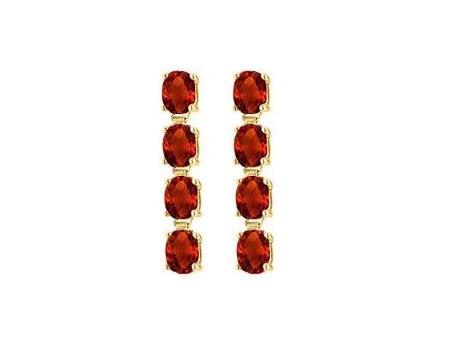 Garnet Drop Earrings Oval Cut Prong Set in Sterling Silver 18K Yellow Gold Vermeil Five Carat TG