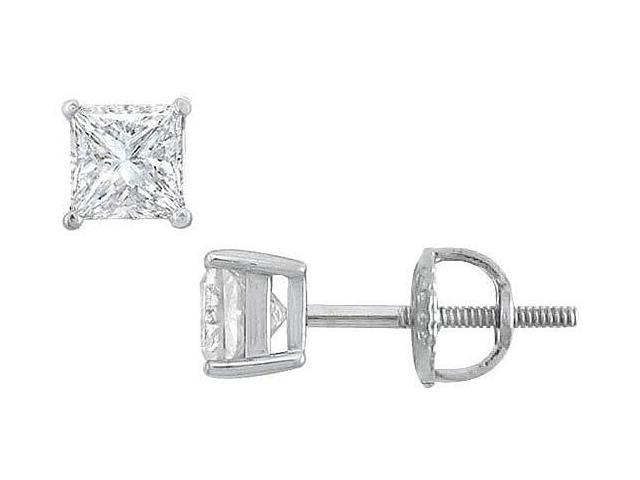 18K White Gold  Princess Cut Diamond Stud Earrings  0.75 CT. TW.