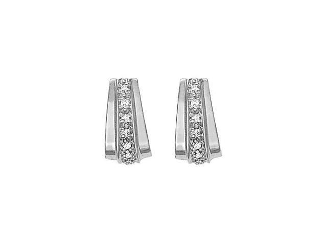 Wide Modern Cubic Zirconia Hoop Earrings for Women 0.50.ct.tw 14K White Gold